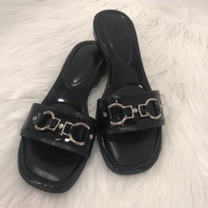 Cole Haan Patent Leather Slip-On Sandals EUC